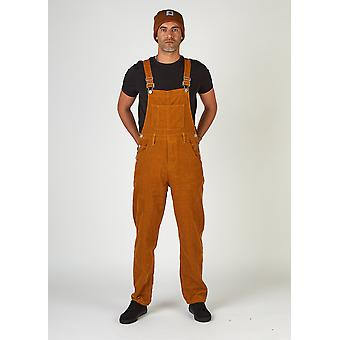 Bertie relaxed fit cord dungarees - brown