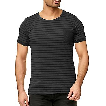 Men's T-Shirt Urban Surface Short Sleeve Contrast Striped Mottled Breast pocket