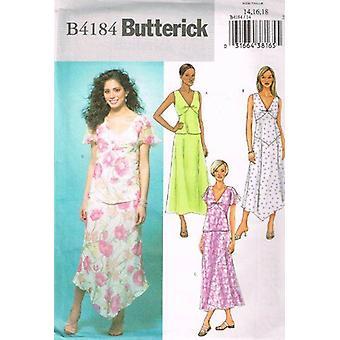 Butterick ompelu kuvio 4184 Misses Top & Hameet Koko 14-18 Leikkaamaton