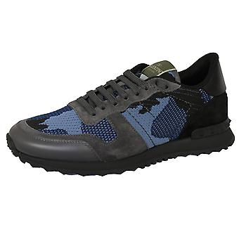 Valentino men's grey and blue rockrunner camouflage mesh trainers