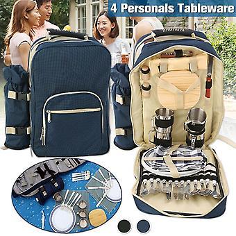 4 Persons Outdoor Camping Portable Shoulder Picnic Bag Picnic Backapck Rucksack BBQ Tool Package