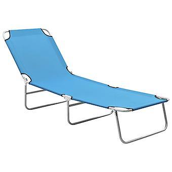 vidaXL Taitettava aurinkotuoli teräs ja kangas turkoosi sininen