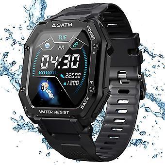 ساعة ذكية، 1.69 بوصة Tough Sport Watch مع 3ATM مقاوم للماء، ضغط الدم، مراقبة معدل ضربات القلب، متعقب نشاط عداد الخطى، ساعة ذكية في الهواء الطلق لمدة 14 يوما + وقت اللعب للرجال (أسود)