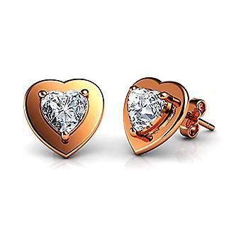 DEPHINI Sterling 925 silver rose gold gold earrings gold-plated jewelry refined heart earrings for women Ref. 5060565242692