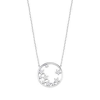 Liebe Halskette mit Damenanhänger, 925 Sterling Silber, mit Zirkonen und Sternen