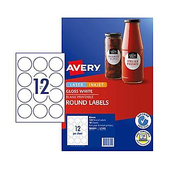 Avery Label L7105 Rd 60Mm 12Up Pack Of 10