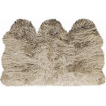 3' x 5' Taupe Natural Sheepskin Area Rug