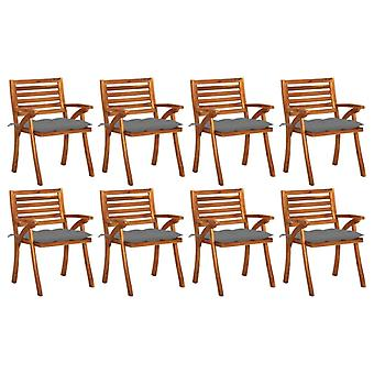 vidaXL garden chairs with cushions 8 pcs solid wood acacia