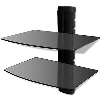 vidaXL جدار الجرف الزجاج ل DVD 2 مستويات الأسود