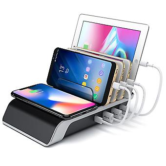 Desktop 4 Ports Charging Station + Wireless Charger 5 In 1