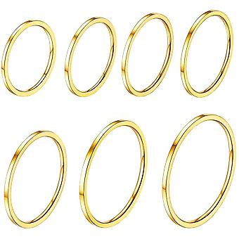 (18k Gold Plated) 7 PCS Knuckle Ring Set,UK Size H to Size T 1/2 (US Size 4 to Size 10),1MM