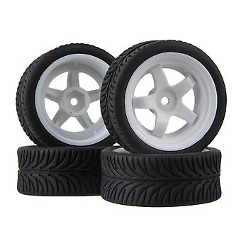 Remote control toy accessories 4pcs 5 spoke wheel rim leaf pattern rubber tyre for rc1:10 on-road car white