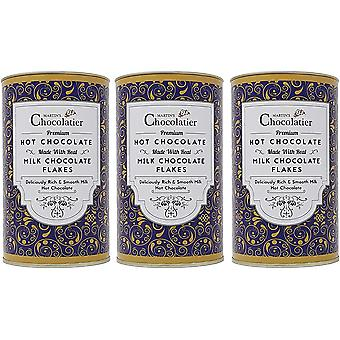 Martin's Chocolatier | 3 Pack | Milk Hot Chocolate Flakes Drinking Chocolate Made from Real Belgian Chocolate Flakes