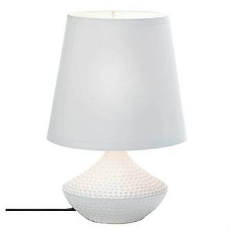Galleri av ljus dimpled bas vit keramisk bordslampa, förpackning med 1
