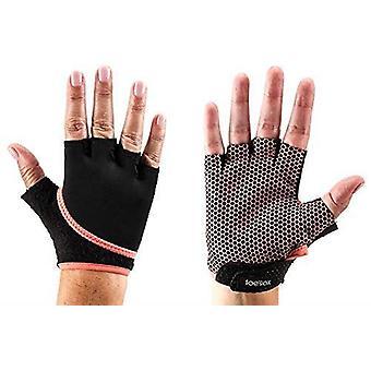ToeSox Grip Gloves Half Finger Design Yoga Pilates & Multiple Workouts - Coral
