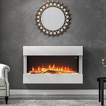 7 couleurs de flamme LED Cheminée murale Blanche Electric Fire Suite