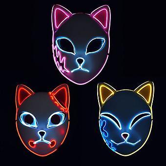 Kitsune Füchse Katzenmasken für Cosplay Japanische Kabuki Traditionelle Halloween Party Kostüme Requisiten mit Blitz LED Lichter