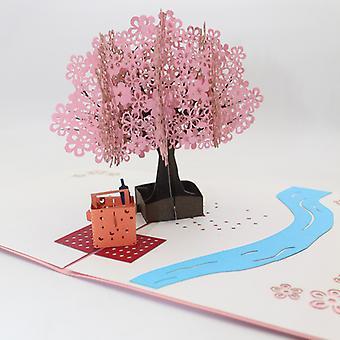 Pop Up 3d Card, Romantic Vegena Sakura Greeting Card, 3d Sakura Tree Card For Valentine's Day Party Gifts, Birthday Wedding Invites-chic, Elegant, Ori