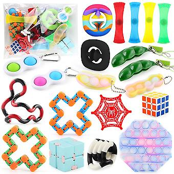 20pcs Anti Stress Toys Set Children Fidget Toys Diy Push Pop Bubble