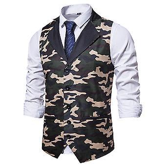 Yunyun Herren Casual V-Ausschnitt Slim Fit Camouflage Bedruckte Anzug Weste mit Tasche