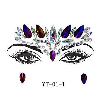 Maskerade Glänzende Gesichtsdekoration 3D Kristall Sticker Musik Festival Trendy Shiny Acryl Drill Sticker Temporäre Tattoo Aufkleber