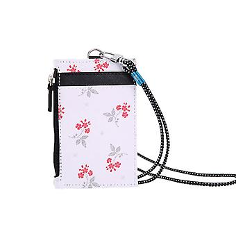 Portable Leather Card Credit Wallet Badge Holder Coin Pocket Purse With Lanyard