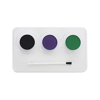 Witch Aqua facial and body paints Kit light green violet and black with brush