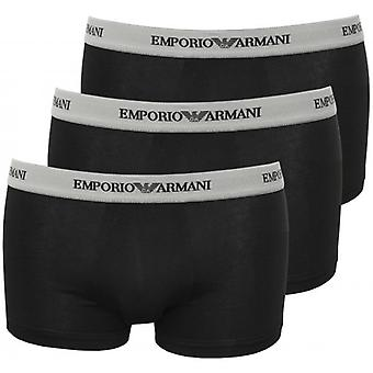 Emporio Armani Stretch Cotton 3-Pack Contrast Waist Boxer Trunks, Black