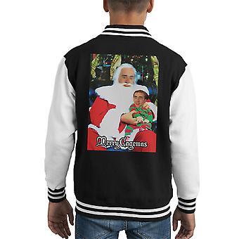 Merry Cagemas Santa Knee Nicolas Cage Christmas Kid's Varsity Jacket