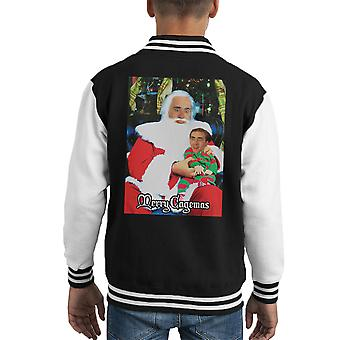 Varsity Jacket pour enfants Noël joyeux Cagemas Santa genou Nicolas Cage