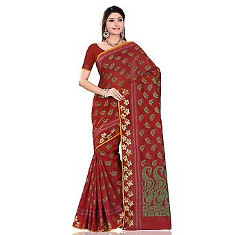Maroon with green leaf art Silk Indian saree Sari Wrap bellydance fabric
