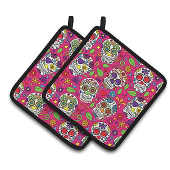 Carolines Treasures  BB5115PTHD Day of the Dead Pink Pair of Pot Holders