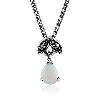 Art Nouveau Style Pear Opal & Marcasite Pendant Necklace in 925 Sterling Silver 214N488908925