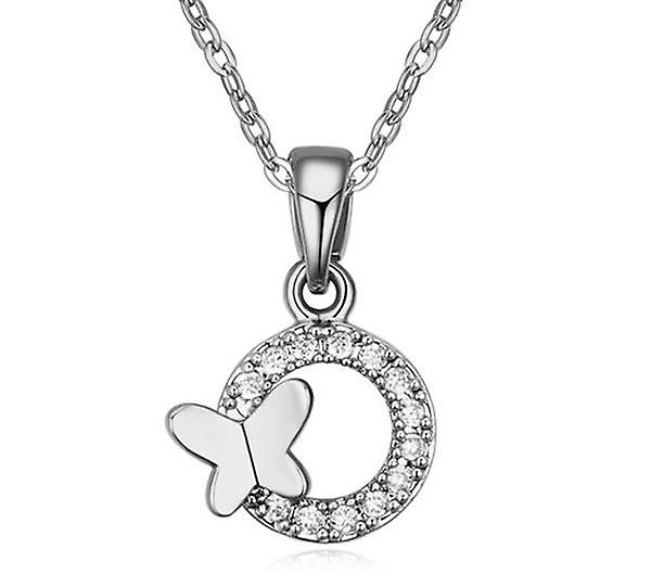 Womens Cricle Silver Butterfly Feature Pendant Necklace Jewellery