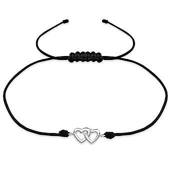 Hearts - 925 Sterling Silver + Nylon Cord Corded Bracelets - W31771X