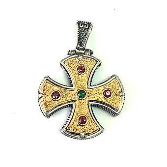 Prata esterlina sobreposição de ouro de 18 quilates estilo bizantino Cruz pingente