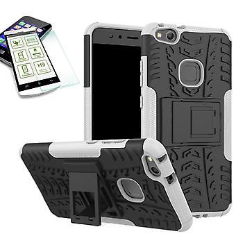 Hybrid Case 2teilig Weiß für Huawei P10 Lite + Hartglas Tasche Hülle Cover