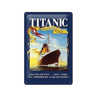 Titanic witte ster reliëf metaal ondertekenen 200 X 300 Mm