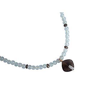 Gemshine-kvinner-halskjede-Goldplated-Aquamarine-røkt kvarts-blå-brun