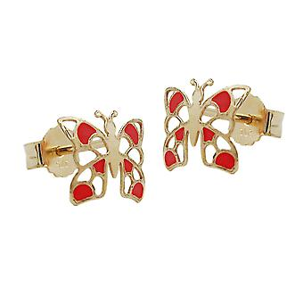 Golden studs plug earrings Butterfly red-enamelled 9 KT gold 375