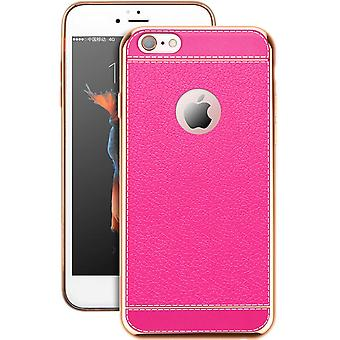 Mobiele telefoon geval voor Apple iPhone 5 / 5 s / SE beschermhoes bag faux leder roze