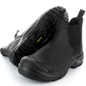 Amblers Steel FS197 Black Crazy Horse Mid Safety Toe Cap Boot