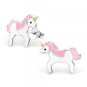 Girls sterling silver and epoxy unicorn stud earrings