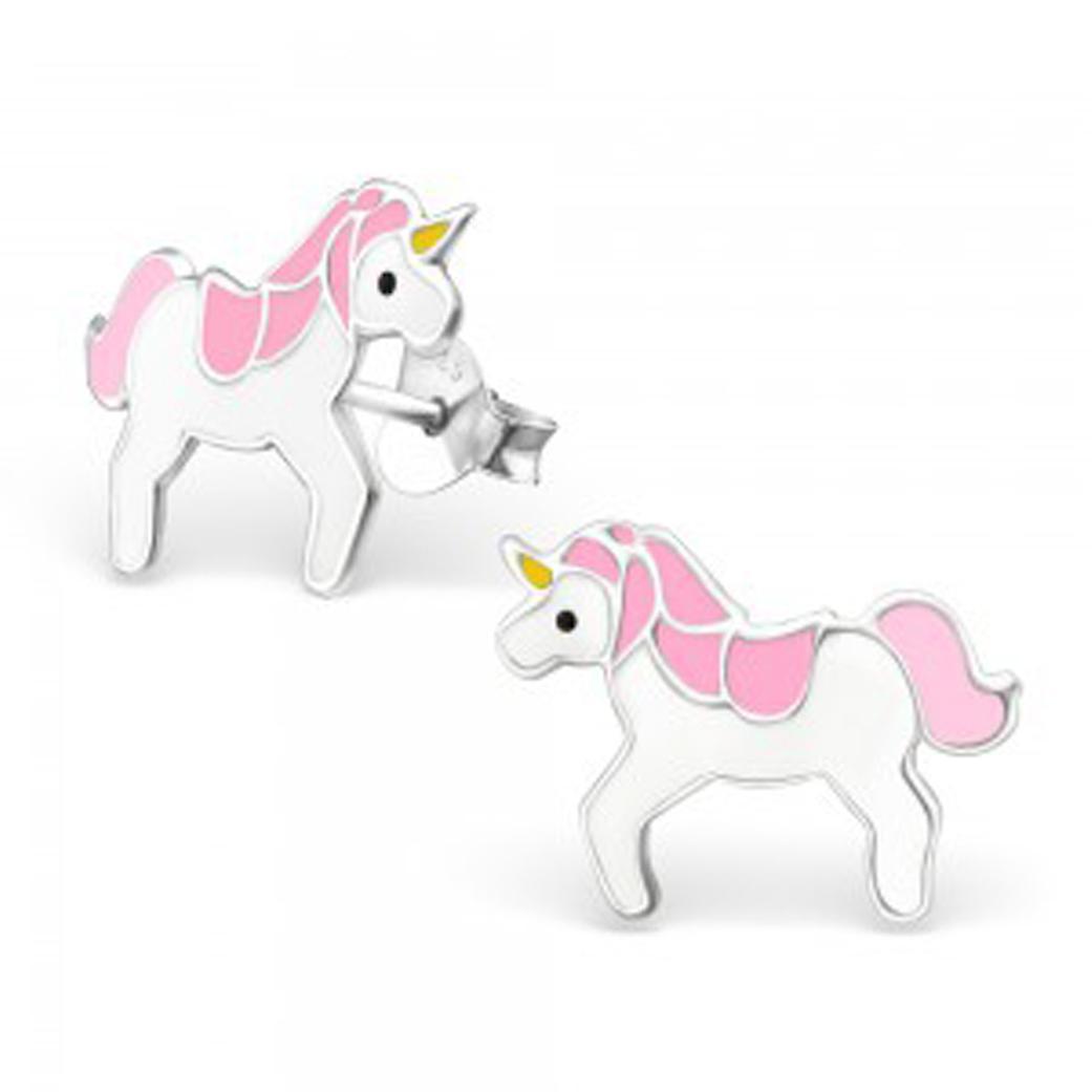 Girls sterling silver and epoxy unicorn stud earrings