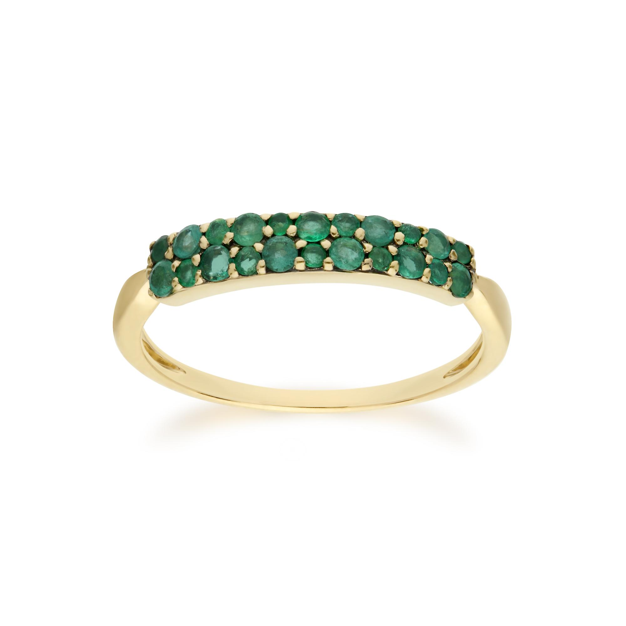 Gemondo 9ct Yellow Gold Emerald Cluster Panel Ring