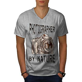Photohrapher By Nature Men GreyV-Neck T-shirt | Wellcoda