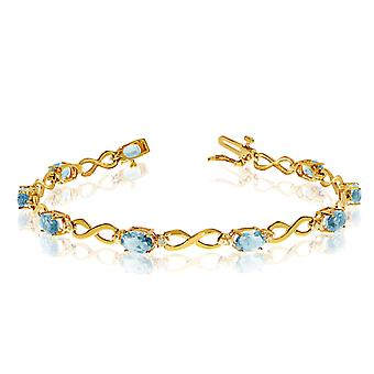 LXR 14K Gul Guld Oval akvamarin og diamant armbånd 2,61 ct