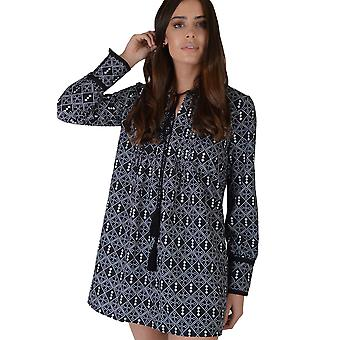 LMS Black Long Sleeved Geometric Shift Dress With Tassel Trim