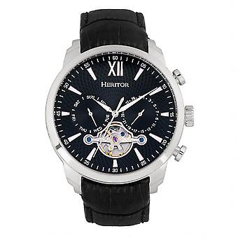 Heritor Automatic Arthur Semi-Skeleton Leather-Band Watch w/ Day/Date - Silver/Black