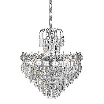 Catherine Chrome And Crystal Five Light Chandelier - Searchlight 2595-5CC